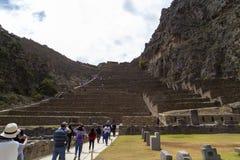 Ollantaytambo, Peru 17. Januar 2019, Ollantaytambo-Inkaruinen und Terrassen - Ollantaytambo, heiliges Tal, Peru lizenzfreie stockfotos