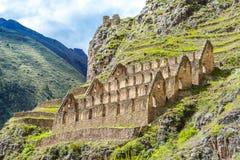 Ollantaytambo, Peru, vale sagrado, ruínas fotografia de stock