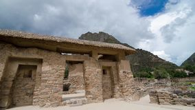 Ollantaytambo, Peru, 18.03.2018: View to ancient building at the territory of Ollantaytambo archeological sight of Inca ruins