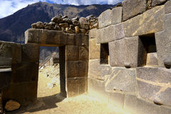 Ollantaytambo Ruins. An ancient doorway in the ruins of Ollantaytambo, Peru and its temple architecture Stock Photography