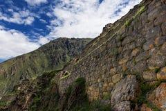 Ollantaytambo ruins, in the Sacred Valley, Peru. Ancient Inca stone wall in the Ollantaytambo ruins, in the Sacred Valley, Peru Stock Images