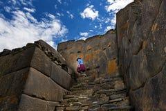 Ollantaytambo ruins, in the Sacred Valley, Peru. Woman in the Ollantaytambo ruins, in the Sacred Valley, Peru Stock Photos