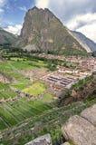 Ollantaytambo, vecchia fortezza di inca nella valle sacra in e immagini stock libere da diritti