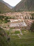 Ollantaytambo von oben Stockfoto