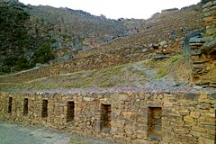 Ollantaytambo, Vroeger Laatste Bolwerk van Incas, Urubamba-Provincie, Cusco-Gebied, Peru royalty-vrije stock afbeelding