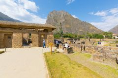 Water temple Ollataytambo archeological site panoramic view Peru royalty free stock photos