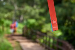 Olle trail couse marker. Jeju, Korea - May 25, 2017:  Jeju Olle trail marker. Olle trail is a famous long-distance foot path on Jeju island.  The routes are Stock Photos