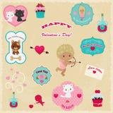 Ð-¡ ollection av valentin symboler för dagvektor Royaltyfri Bild