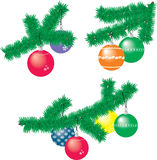Сollection of Christmas fir branches with Christmas balls.  Royalty Free Stock Photo