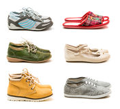 Сollection of comfortable casual shoes Royalty Free Stock Images