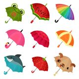 ollection of cute colorful umbrellas vector Illustration on a white background stock illustration