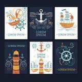 Ollection del ¡de Ð de tarjetas marinas fotos de archivo