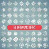 Ollection del ¡ di Ð dei fiocchi di neve alla moda del elegante isolati Fotografie Stock Libere da Diritti