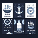 Ollection do ¡ de Ð de cartões marinhos Fotos de Stock Royalty Free