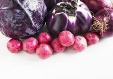 Сollection of fresh purple toned vegetables Stock Image