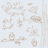 Сollection of funny birds. line art. Hand-drawing. buttons web design Stock Image