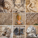 Сollection of sculptural images in Malta. Fragments of sculpture and architectural ornaments in Malta Royalty Free Stock Photography