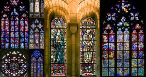 Сollection of stained-glass windows Stock Photo