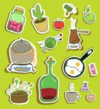 �ollection of stickers of household Stock Images