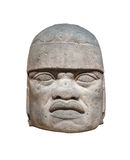 Olmec colossal head isolated Stock Images