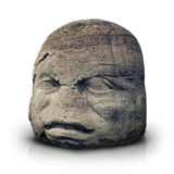 Olmec colossal head isolated on white Royalty Free Stock Image