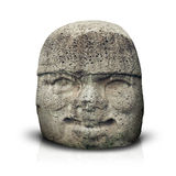 Olmec colossal head isolated on white Royalty Free Stock Images