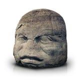 Olmec kolosalna głowa odizolowywająca na bielu obraz royalty free