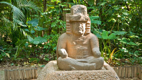 Olmec sculpture. Sculpture made from the old folk of olmec people, exhibitioned in the park la venta in villa hermosa, mexico Royalty Free Stock Photo