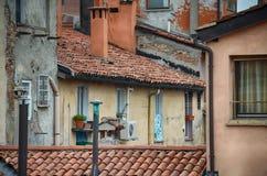 Ologna,意大利:都市建筑学在市中心 库存照片