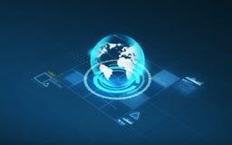Ologramma del globo della terra e dello schermo virtuale Fotografie Stock Libere da Diritti