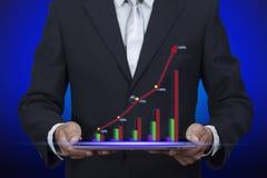 Ologramma del pop-up del grafico dell'esposizione del grafico di successo dalla compressa illustrazione vettoriale