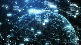Ologramma di Digital del pianeta Terra fatto di Dots Rotation in Cyberspace con la crescita di griglia della rete animazione 3d f royalty illustrazione gratis