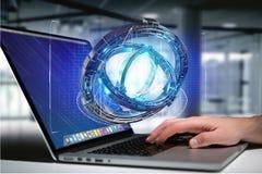 Ologramma fatto della ruota con un'interfaccia futuristica di dati - 3d ren Immagini Stock Libere da Diritti