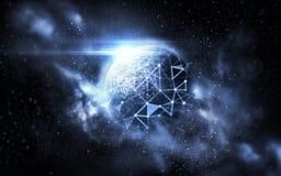 Ologramma sopra il pianeta e le stelle nello spazio Fotografie Stock Libere da Diritti