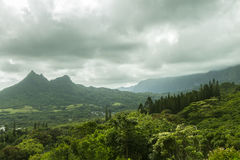 Olomana and Koolau Mountains. Olomana Ridge, commonly called Three Sisters, and the Koolau Mountain Range on the Windward side of Oahu, Hawaii Royalty Free Stock Photography