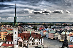 Olomouc city in Czech republic. Dramatic panorama of beautiful historical Olomouc city in Czech republic Stock Photography
