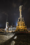 Olomouc column of holy trinity and the townhall at night Stock Images