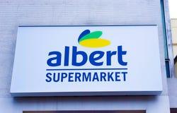 Olomouc, Cszech-Republiek - 02 Januari, 2018: Het teken van de supermarkt van Albert in Olomouc Stock Fotografie