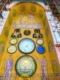 Olomouc Cszech republik - Januari 02, 2018: Olomouc den astronomiska klocka- eller Olomoucky orlojen på stadshuset in Royaltyfria Foton
