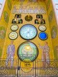 Olomouc Cszech republik - Januari 02, 2018: Olomouc den astronomiska klocka- eller Olomoucky orlojen på stadshuset in Arkivfoto