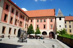 Olomouc, Czech Rep: Baroque Square with Café Royalty Free Stock Photo
