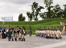 Olomouc Czech Rep. October 7th 2017 historical festival Olmutz 1813. Napoleonic soldiers marching with their muskets on. Shoulders Stock Photo