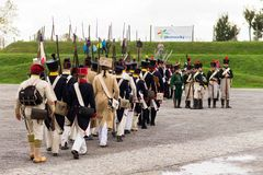 Olomouc Czech Rep. October 7th 2017 historical festival Olmutz 1813. Napoleonic soldiers marching with their muskets on. Shoulders Royalty Free Stock Photo