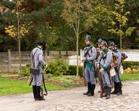 Olomouc Czech Rep. October 7th 2017 historical festival Olmutz 1813. Napoleonic soldiers stand at attention and being. Controlled by an officer. Military muster Royalty Free Stock Photos