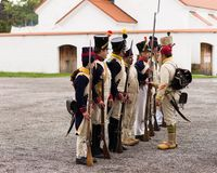 Olomouc Czech Rep. October 7th 2017 historical festival Olmutz 1813. Napoleonic soldiers stand at attention and being. Controlled by an officer. Military muster Royalty Free Stock Photography