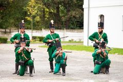 Olomouc Czech Rep. October 7th 2017 historical festival Olmutz 1813. Napoleonic soldiers unit in green uniforms is. Getting ready to fire from their muskets Stock Images