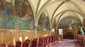 OLOMOUC, CZECH REPUBLIC, APRIL 15, 2018: Knight`s Hall in the town city hall of Olomouc, memorial, ceremonial and stock video footage