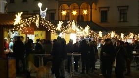 OLOMOUC, CZECH REPUBLIC, DECEMBER 20, 2018: Christmas markets night, illumination with ornaments stars and ornaments. Christmas markets night, illumination with stock video footage