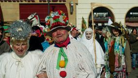OLOMOUC, CZECH REPUBLIC, FEBRUARY 29, 2019: Carnival Masopust celebration masks parade festival, traditional Slavic stock photos