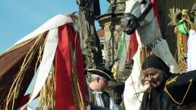 Olomouc, Czech Republic, February 29, 2019: Carnival Masopust celebration masks parade festival, traditional Slavic stock video